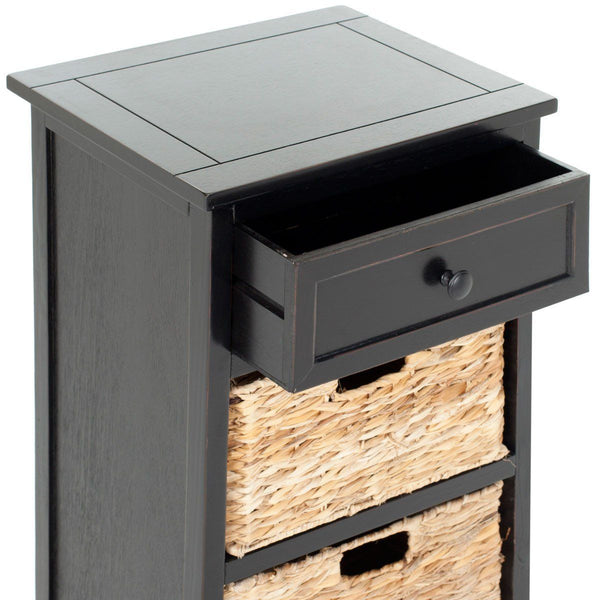 Carrie Side Storage Table Distressed Black