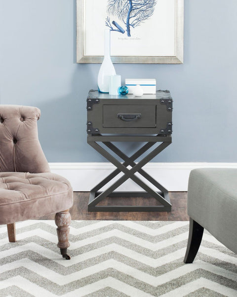 Dunstan Accent Table With Storage Drawer Grey Side