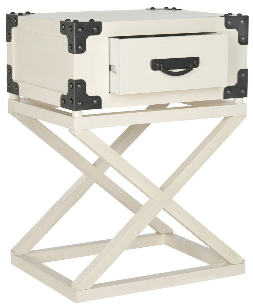 Dunstan Accent Table With Storage Drawer White Side