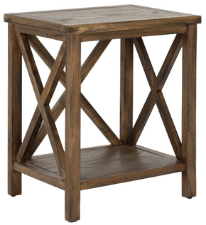 Candence Cross Back End Table Oak Side