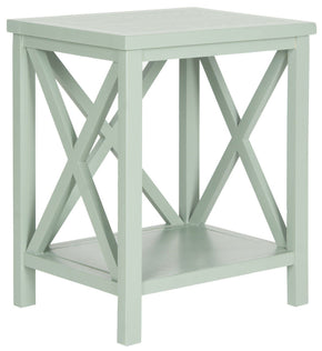 Candence Cross Back End Table Dusty Green Side