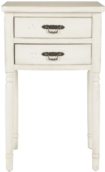 Marilyn End Table With Storage Drawers White Side