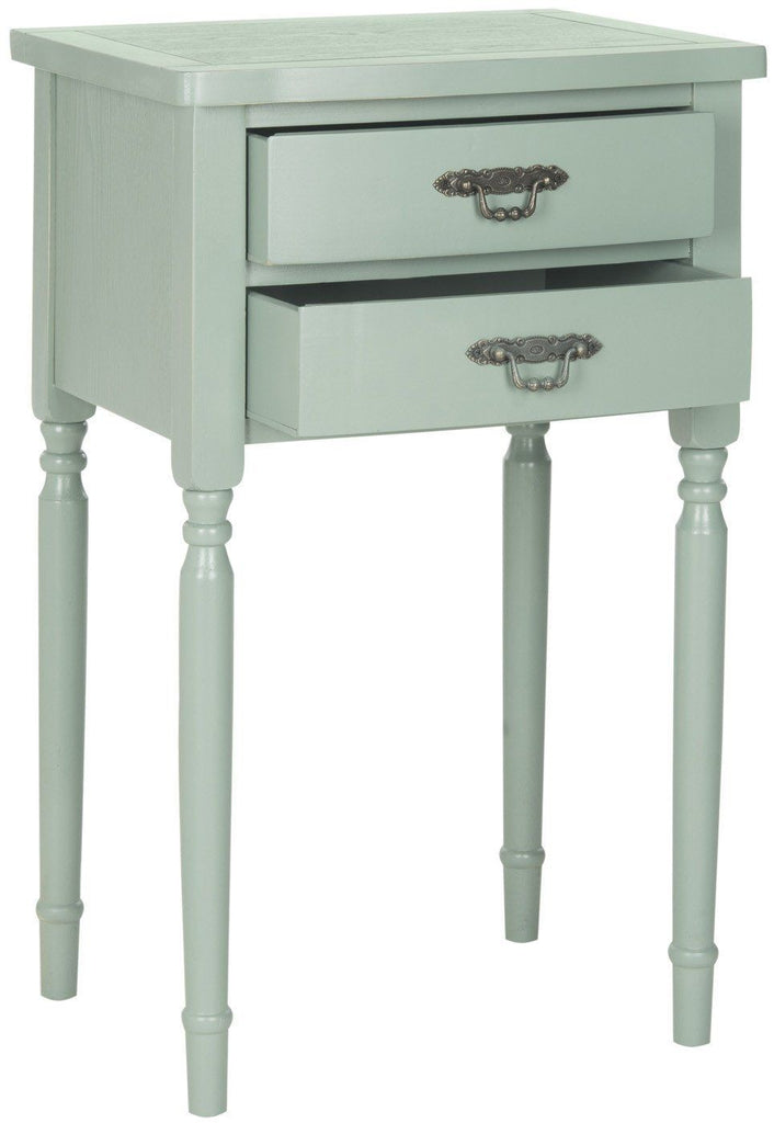 Marilyn End Table With Storage Drawers Medium Grey Side