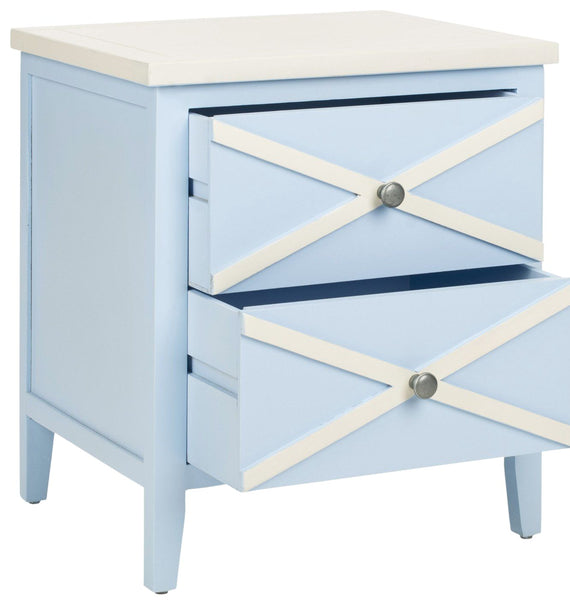 Sherrilyn 2 Drawer Side Table Light Blue