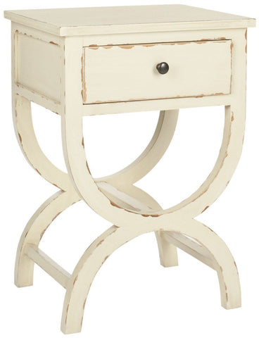 Maxine Accent Table With Storage Drawer Vintage Cream Side