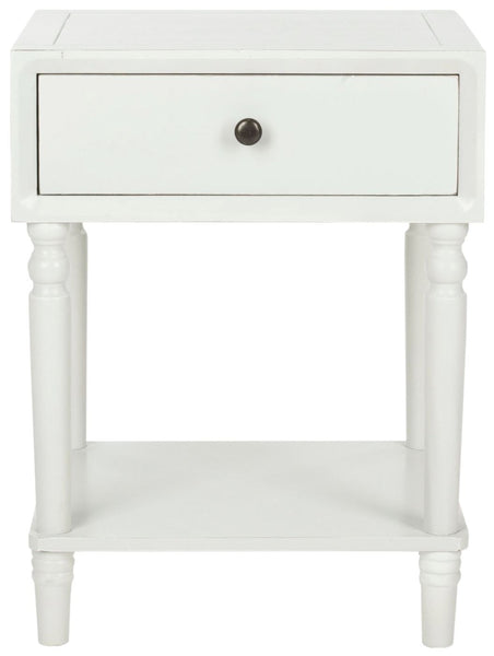 Siobhan Accent Table With Storage Drawer Shady White Side