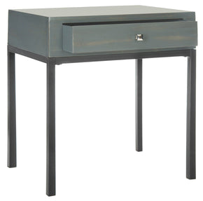 Adena End Table With Storage Drawer Steel Teal Side
