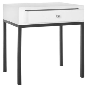 Adena End Table With Storage Drawer White Side