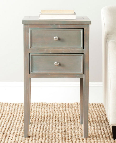 Toby End Table With Storage Drawers French Grey Side