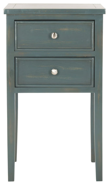 Toby End Table With Storage Drawers Steel Teal Side