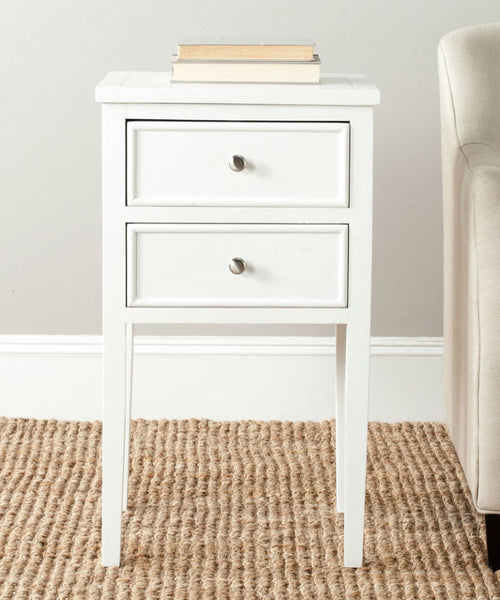 Toby End Table With Storage Drawers White Side