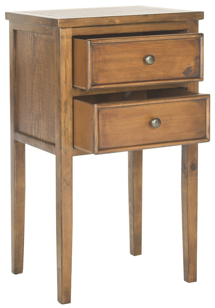 Toby End Table With Storage Drawers Filbert Brown Side