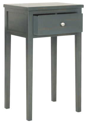 Abel End Table With Storage Drawer Steel Teal Side