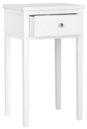 Abel End Table With Storage Drawer White Side