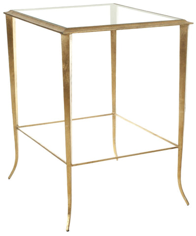 Tory Accent Table Clear Glass Top; Gold Legs Side