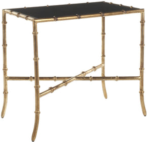 Chandler Accent Table Black/ Gold Legs Side