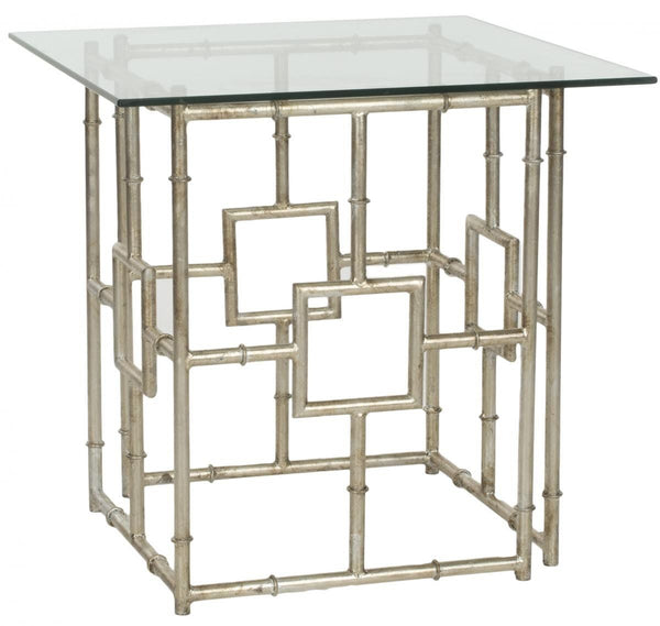 Dermot Accent Table Silver/clear Glass Top Side