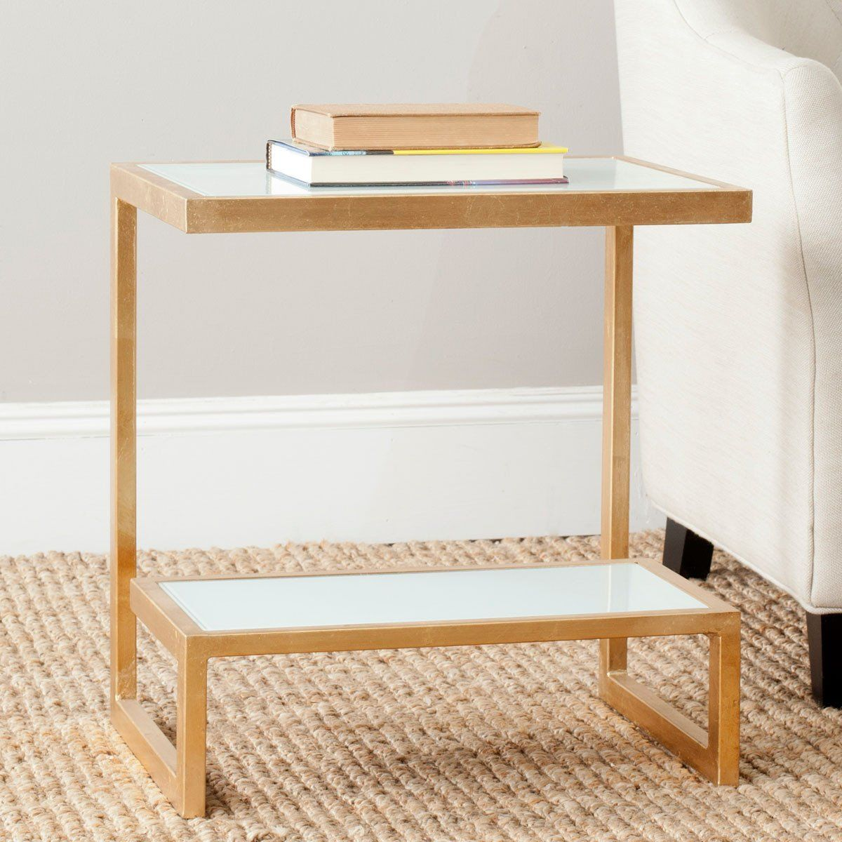 Buy Safavieh Fox2522b Kennedy Accent Table Goldwhite Glass Top At