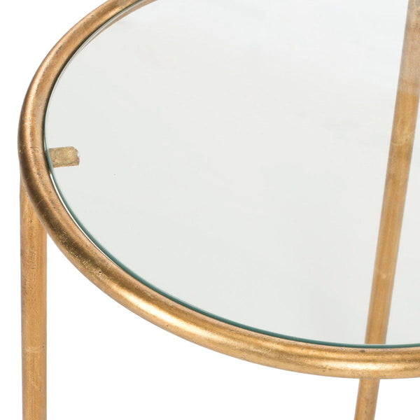 Shay Accent Table Gold/clear Glass Top Side