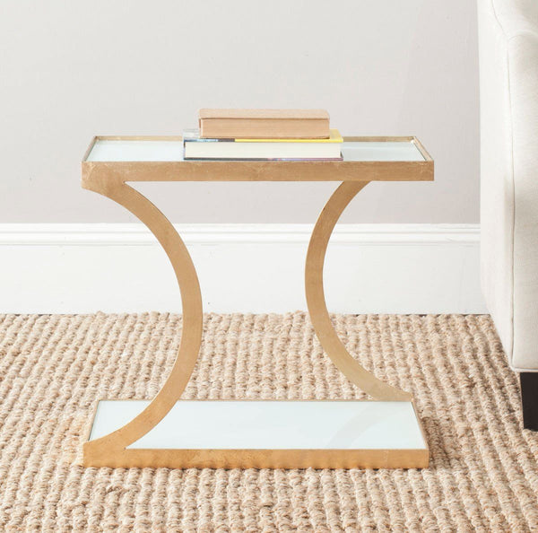 Sullivan Accent Table Gold/white Glass Top Side