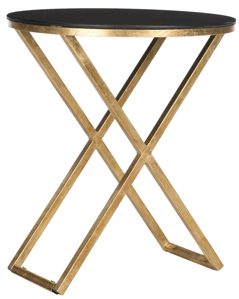 - Buy Safavieh FOX2539B Riona Accent Table Gold/Black Glass Top At