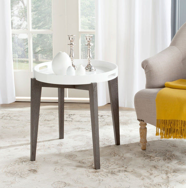 Ben Lacquer Side Table White & Brown