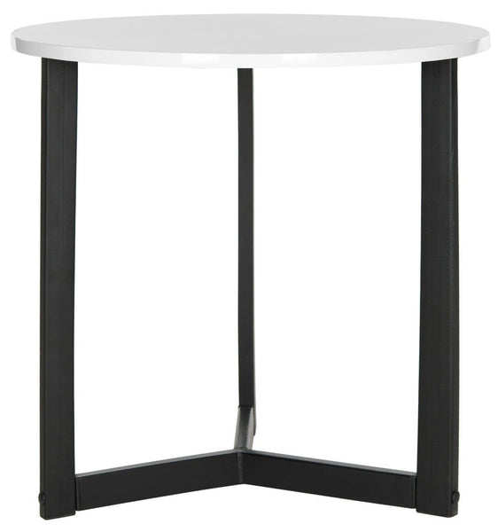 Ballard Lacquer End Table White & Black Side