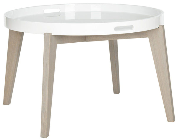 Echo Lacquer End Table White & Grey Side