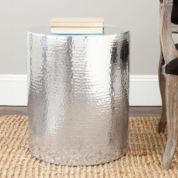 Polonium Occasional Hammered Table Silver By Safavieh FOXA - Hammered silver side table