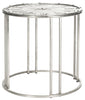 Roman Clock End Table Antique Silver Side