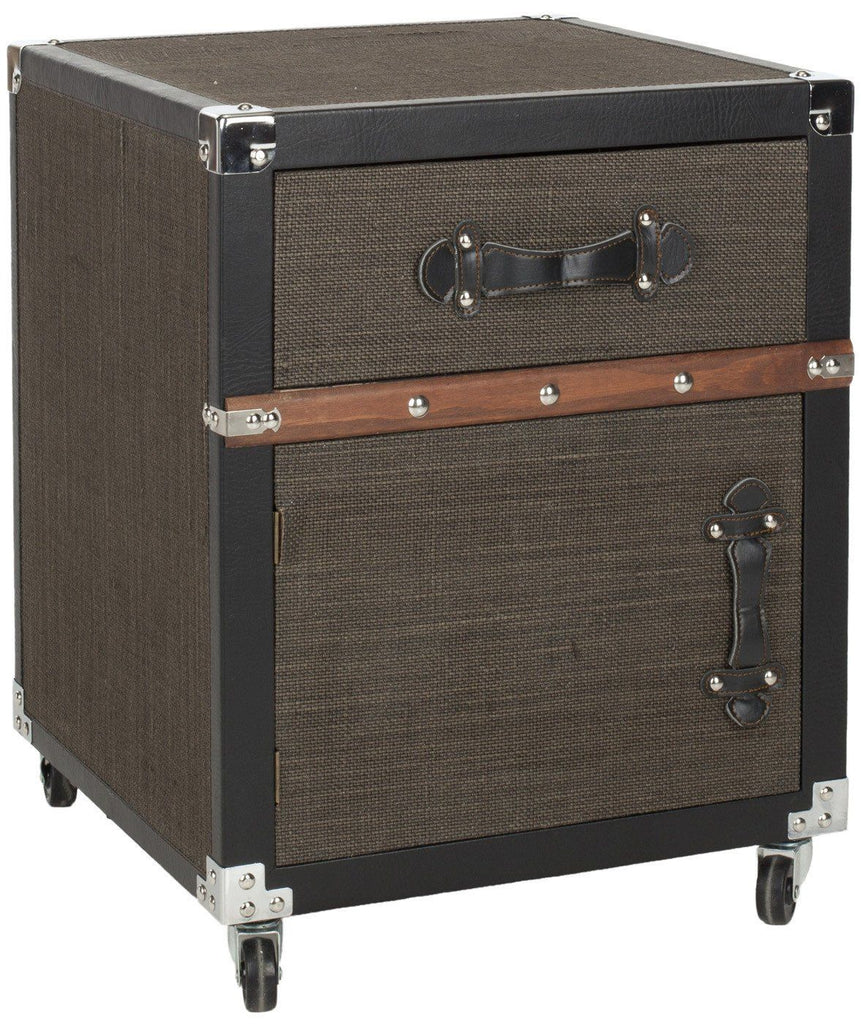Joel Rolling Chest/black-Brown-Silver Black-Brown-Silver Side Table