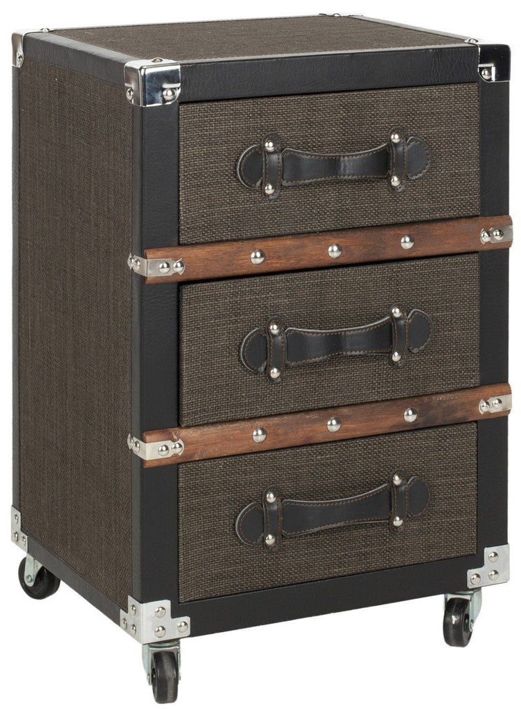 Side Tables - Safavieh FOX9506A Lewis 3 Drawer Rolling Chest/Black-Brown-Silver Black-Brown-Silver | 683726356837 | Only $214.80. Buy today at http://www.contemporaryfurniturewarehouse.com