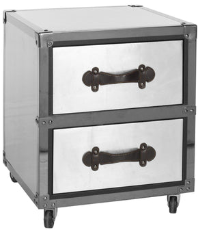 Gage 2 Drawer Rolling Chest/black-Silver Black-Silver Side Table