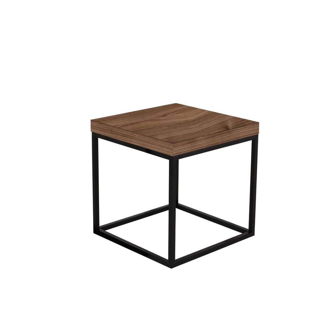 Prairie 20X20 End Table Walnut Top / Black Legs Side