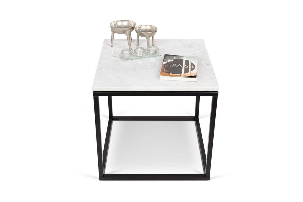 Prairie 20X20 Marble End Table White Top/black Lacquered Steel Legs Side