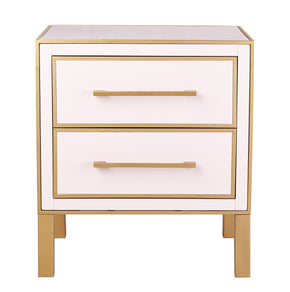 Emily Pink Lacquer Side Table With Gold Trim
