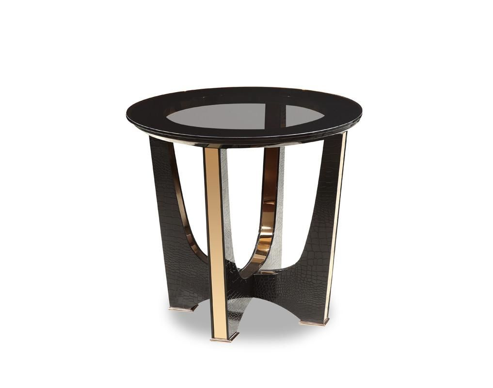 Au0026x Talin Modern Black Crocodile U0026 Rose Gold End Table Side ...