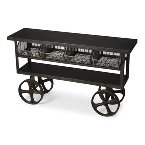 Antietam Modern Industrial Rectangular Trolley Buffet Black Sideboard