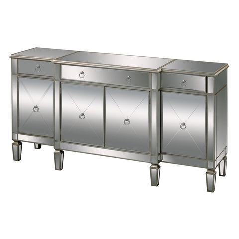 Bodrum Buffet Server Clear Mirror,champagne Silver Leaf Sideboard