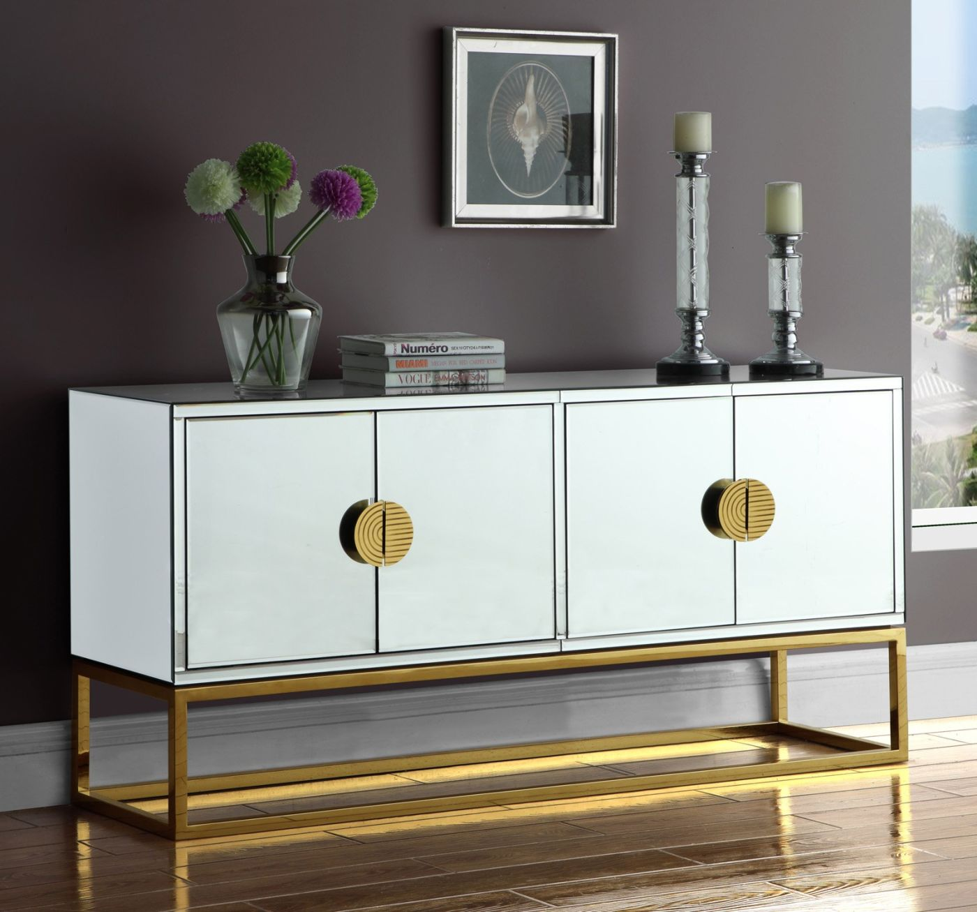 Buy Meridian 302 Marbella Mirrored Sideboard Buffet Gold
