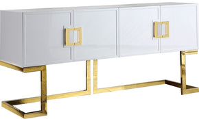 Sideboards - Meridian 306 Beth Buffet Gold / White Lacquer | 647899948336 | Only $1144.80. Buy today at http://www.contemporaryfurniturewarehouse.com