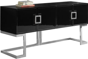 Sideboards - Meridian 307 Beth Buffet Chrome / Black Lacquer | 647899948343 | Only $1089.80. Buy today at http://www.contemporaryfurniturewarehouse.com