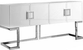 Beth Buffet Chrome / White Lacquer Sideboard