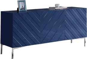 Sideboards - Meridian 309 Collette Buffet Chrome / Navy Blue Lacquer | 647899948459 | Only $1099.80. Buy today at http://www.contemporaryfurniturewarehouse.com