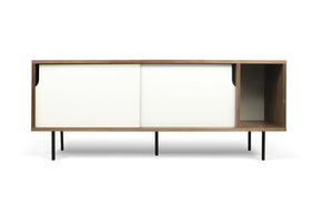 Dann Sideboard Walnut Frame Pure White Doors Black Lacquered Steel Feet