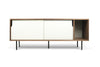 Dann Sideboard Walnut Frame, Pure White Doors, Black Lacquered Steel Feet