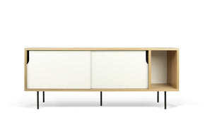 Dann Sideboard Oak Frame Pure White Doors Black Lacquered Steel Feet