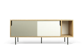 Dann Sideboard Oak Frame Pure White/matte Grey Doors Black Lacquered Steel Feet