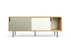 Dann Sideboard Oak Frame, Pure White/Matte Grey Doors, Black Lacquered Steel Feet