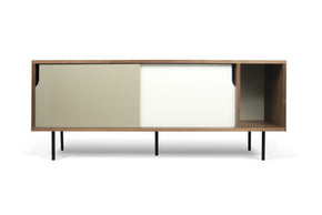 Dann Sideboard Walnut Frame Pure White/matte Grey Doors Black Lacquered Steel Feet